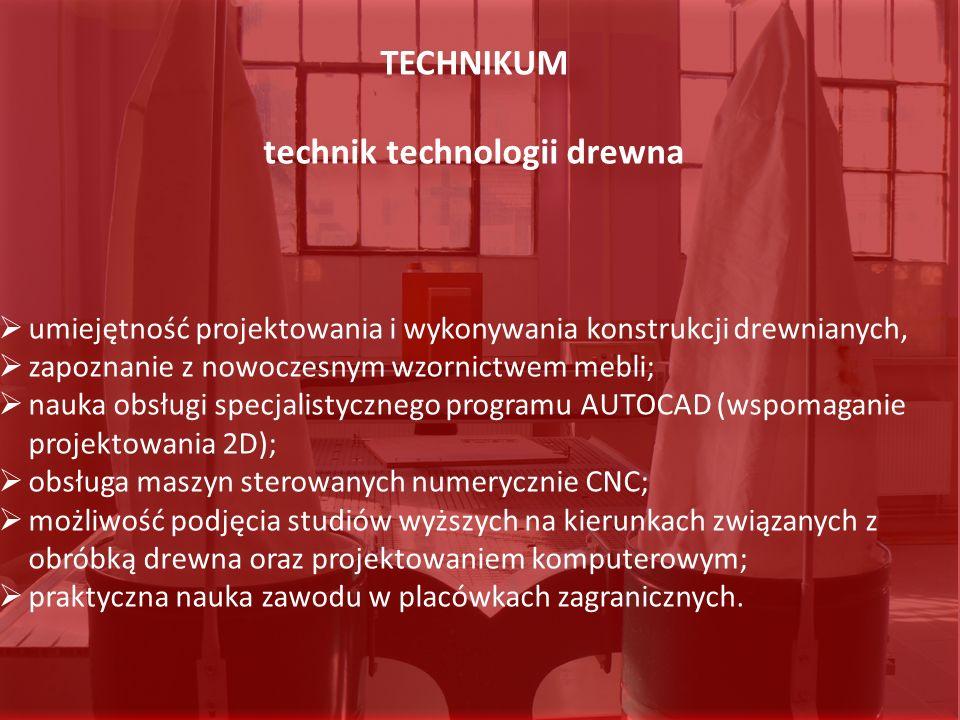TECHNIKUM technik technologii drewna umiejętność projektowania i wykonywania konstrukcji drewnianych, zapoznanie z nowoczesnym wzornictwem mebli; nauk