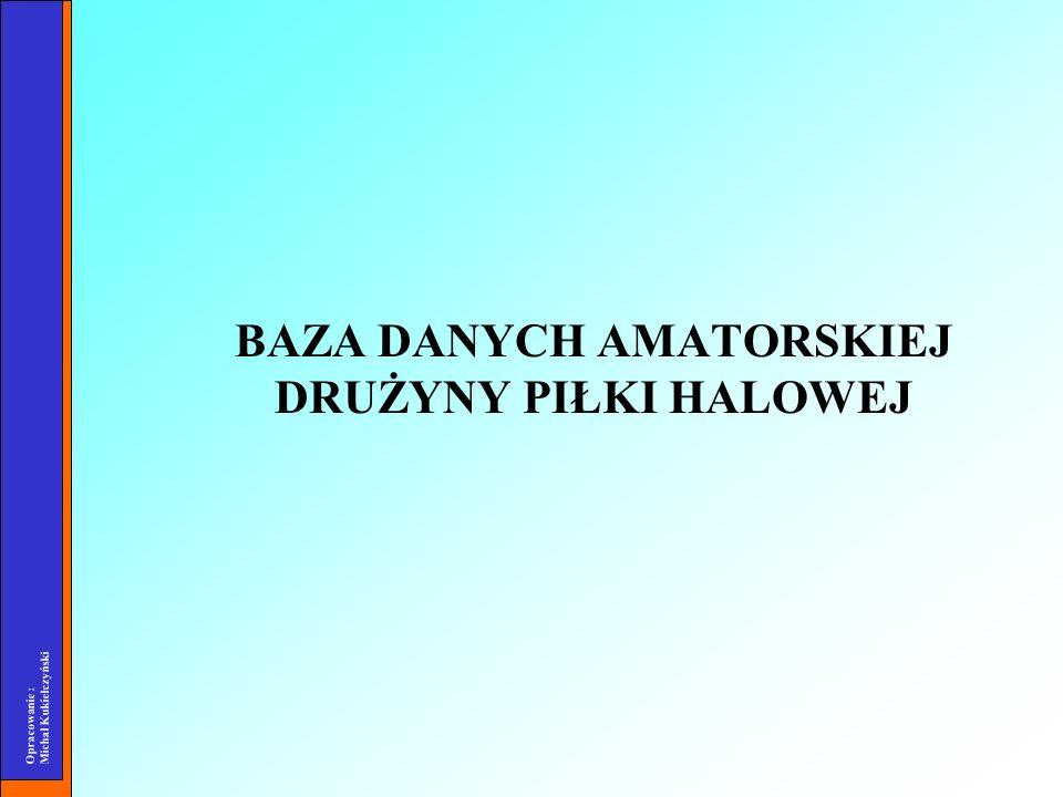 Opracowanie : Michał Kukiełczyński BAZA DANYCH AMATORSKIEJ DRUŻYNY PIŁKI HALOWEJ
