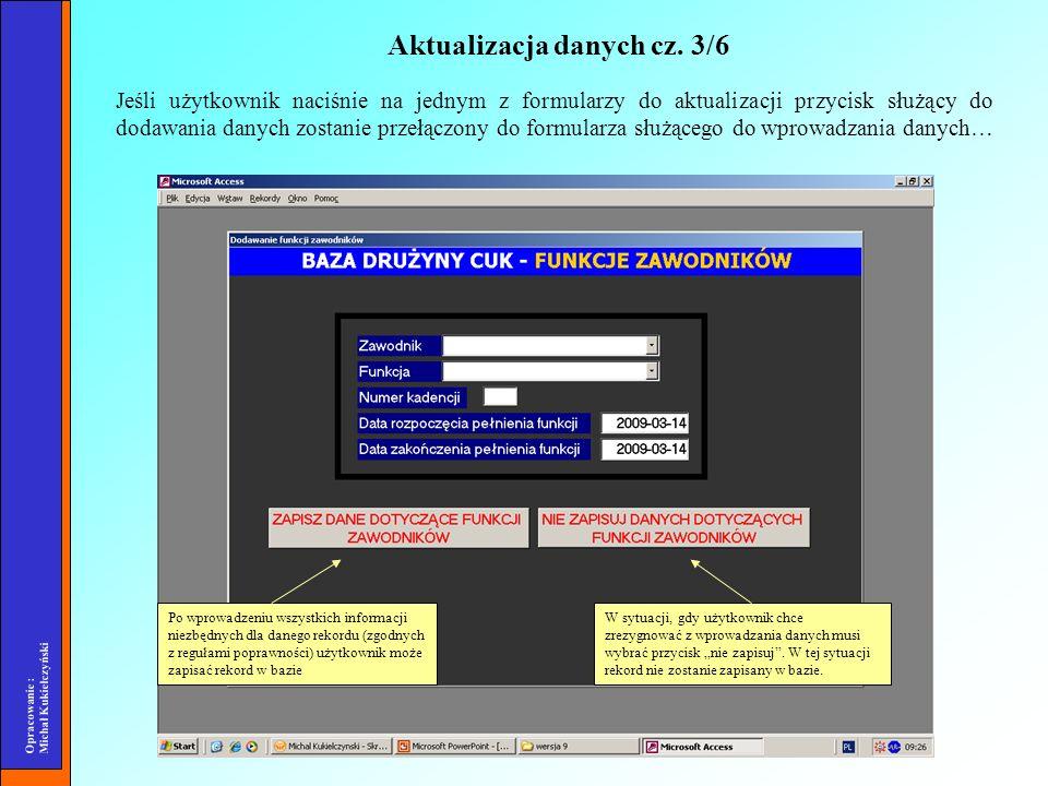 Opracowanie : Michał Kukiełczyński Jeśli użytkownik naciśnie na jednym z formularzy do aktualizacji przycisk służący do dodawania danych zostanie prze