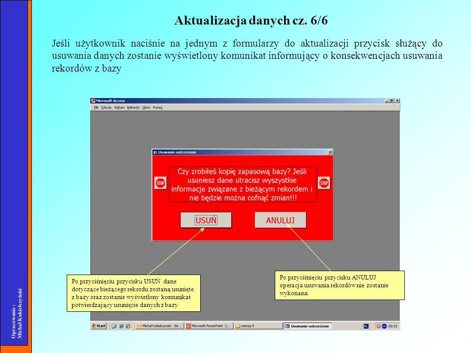 Opracowanie : Michał Kukiełczyński Jeśli użytkownik naciśnie na jednym z formularzy do aktualizacji przycisk służący do usuwania danych zostanie wyświ