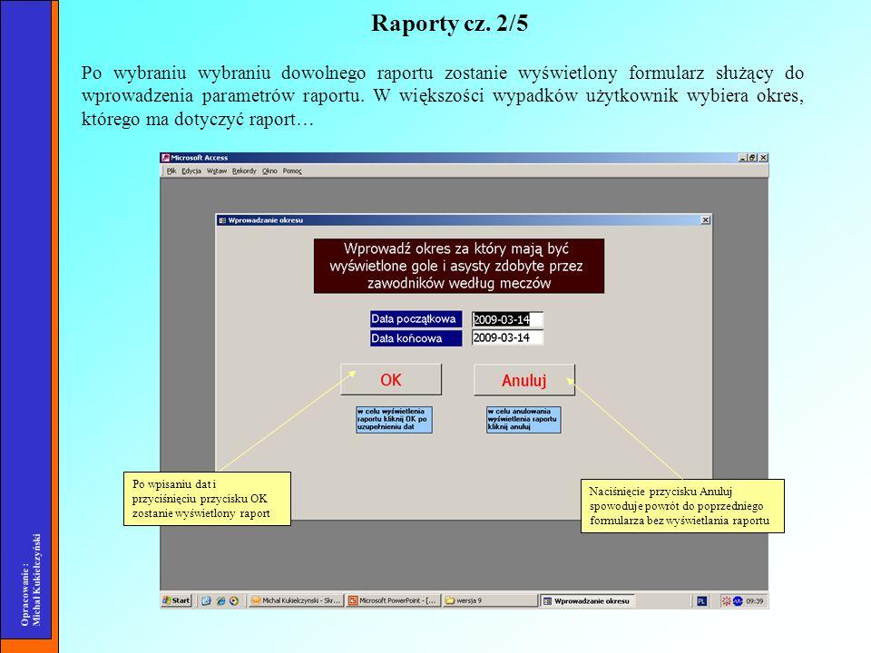 Opracowanie : Michał Kukiełczyński Po wybraniu wybraniu dowolnego raportu zostanie wyświetlony formularz służący do wprowadzenia parametrów raportu. W