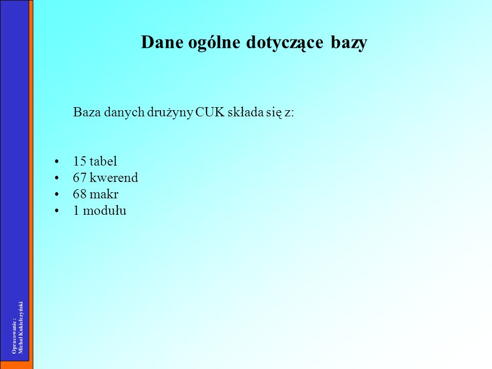 Opracowanie : Michał Kukiełczyński Dane ogólne dotyczące bazy Baza danych drużyny CUK składa się z: 15 tabel 67 kwerend 68 makr 1 modułu