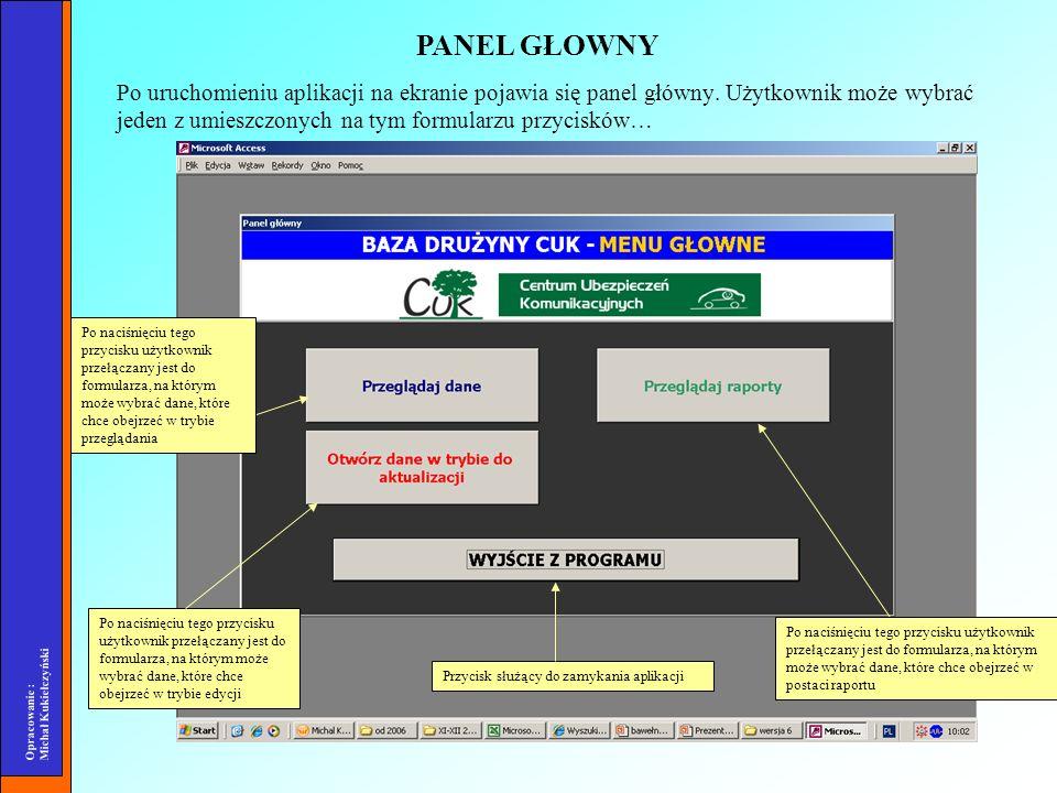 Opracowanie : Michał Kukiełczyński Po uruchomieniu aplikacji na ekranie pojawia się panel główny. Użytkownik może wybrać jeden z umieszczonych na tym