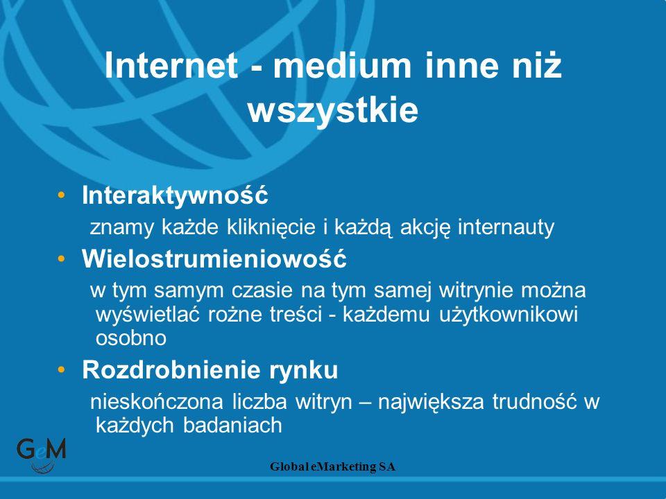 Global eMarketing SA Internet - medium inne niż wszystkie Interaktywność znamy każde kliknięcie i każdą akcję internauty Wielostrumieniowość w tym sam