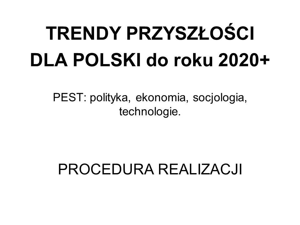 TRENDY PRZYSZŁOŚCI DLA POLSKI do roku 2020+ PEST: polityka, ekonomia, socjologia, technologie. PROCEDURA REALIZACJI