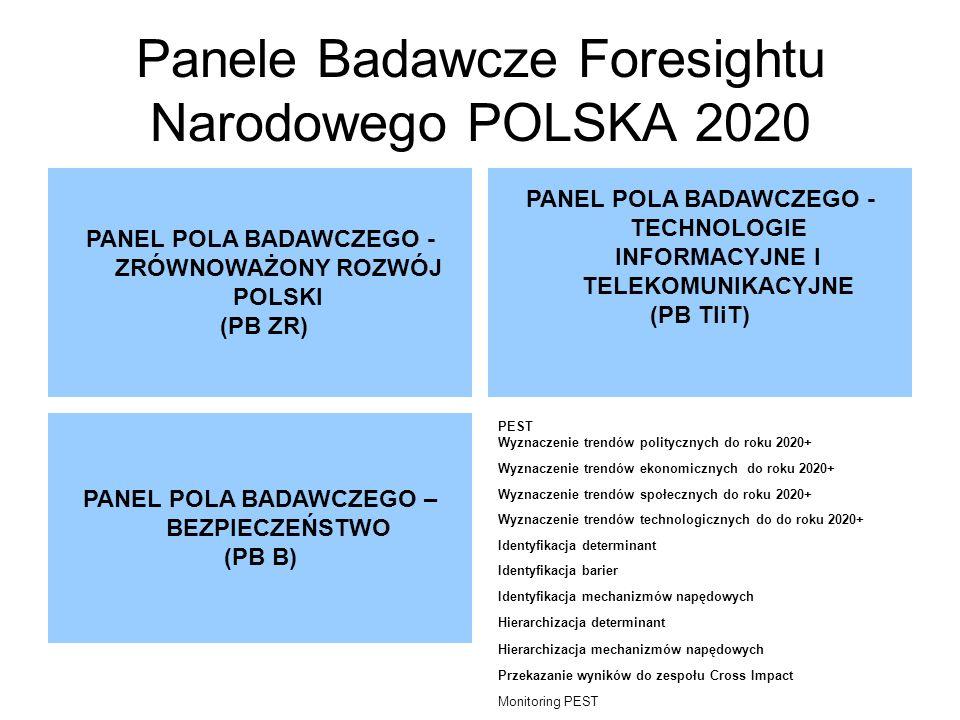 Panele Badawcze Foresightu Narodowego POLSKA 2020 PANEL POLA BADAWCZEGO - ZRÓWNOWAŻONY ROZWÓJ POLSKI (PB ZR) PANEL POLA BADAWCZEGO - TECHNOLOGIE INFORMACYJNE I TELEKOMUNIKACYJNE (PB TIiT) PANEL POLA BADAWCZEGO – BEZPIECZEŃSTWO (PB B) PEST Wyznaczenie trendów politycznych do roku 2020+ Wyznaczenie trendów ekonomicznych do roku 2020+ Wyznaczenie trendów społecznych do roku 2020+ Wyznaczenie trendów technologicznych do do roku 2020+ Identyfikacja determinant Identyfikacja barier Identyfikacja mechanizmów napędowych Hierarchizacja determinant Hierarchizacja mechanizmów napędowych Przekazanie wyników do zespołu Cross Impact Monitoring PEST