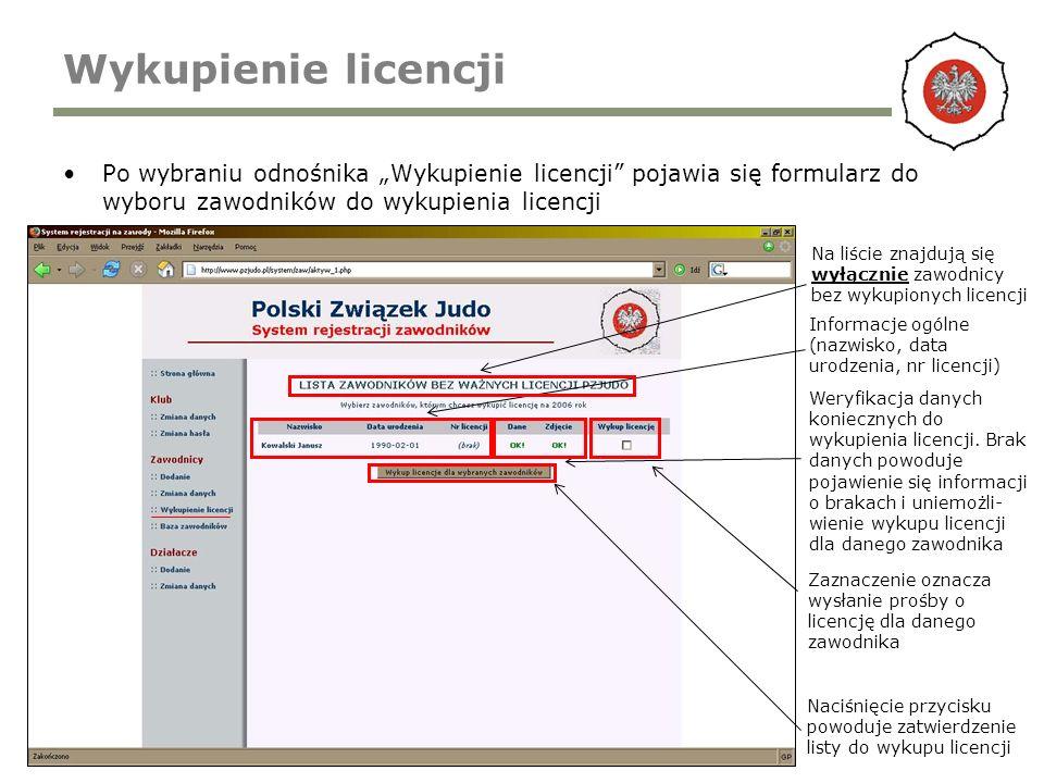 Wykupienie licencji Po wybraniu odnośnika Wykupienie licencji pojawia się formularz do wyboru zawodników do wykupienia licencji Informacje ogólne (nazwisko, data urodzenia, nr licencji) Naciśnięcie przycisku powoduje zatwierdzenie listy do wykupu licencji Weryfikacja danych koniecznych do wykupienia licencji.