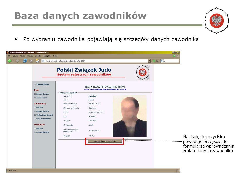 Baza danych zawodników Po wybraniu zawodnika pojawiają się szczegóły danych zawodnika Naciśnięcie przycisku powoduje przejście do formularza wprowadza