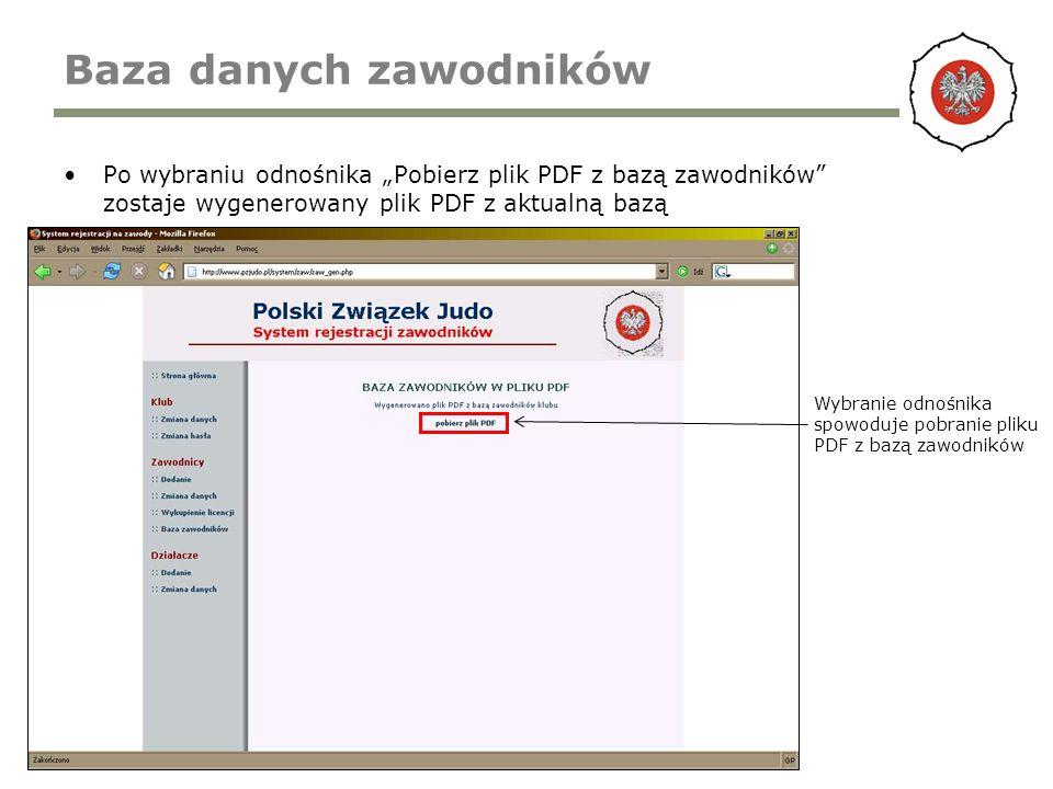 Baza danych zawodników Po wybraniu odnośnika Pobierz plik PDF z bazą zawodników zostaje wygenerowany plik PDF z aktualną bazą Wybranie odnośnika spowoduje pobranie pliku PDF z bazą zawodników
