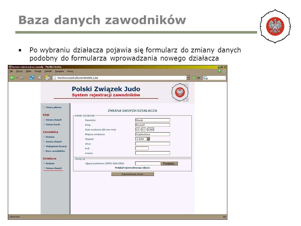 Baza danych zawodników Po wybraniu działacza pojawia się formularz do zmiany danych podobny do formularza wprowadzania nowego działacza