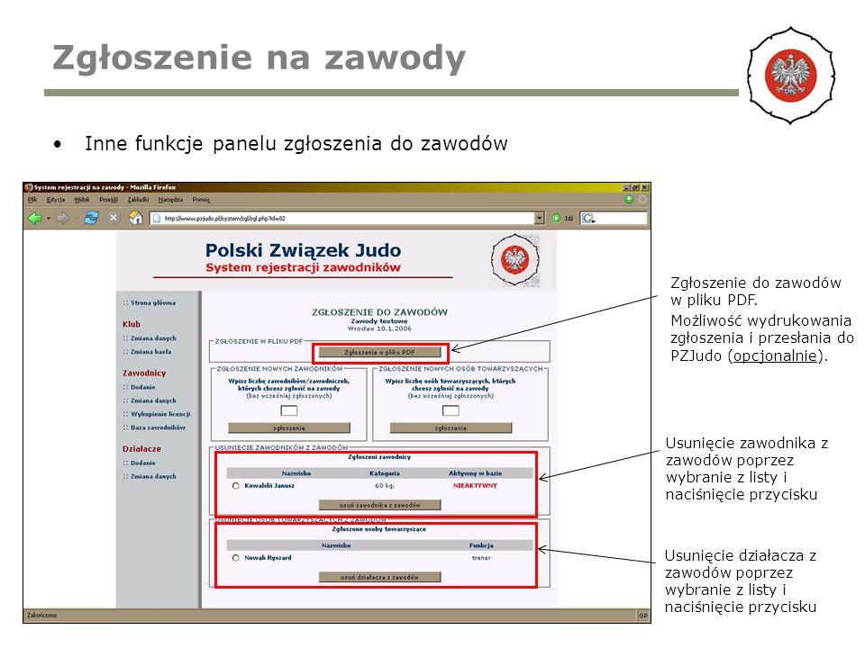Zgłoszenie na zawody Inne funkcje panelu zgłoszenia do zawodów Zgłoszenie do zawodów w pliku PDF. Możliwość wydrukowania zgłoszenia i przesłania do PZ