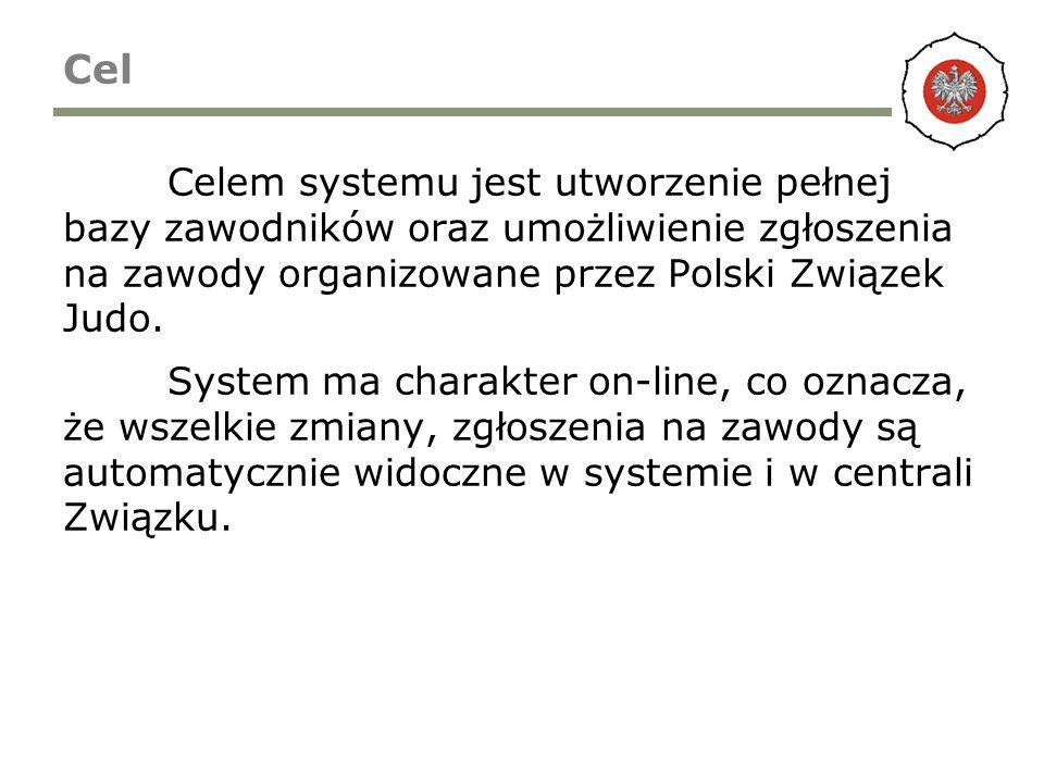 Cel Celem systemu jest utworzenie pełnej bazy zawodników oraz umożliwienie zgłoszenia na zawody organizowane przez Polski Związek Judo. System ma char