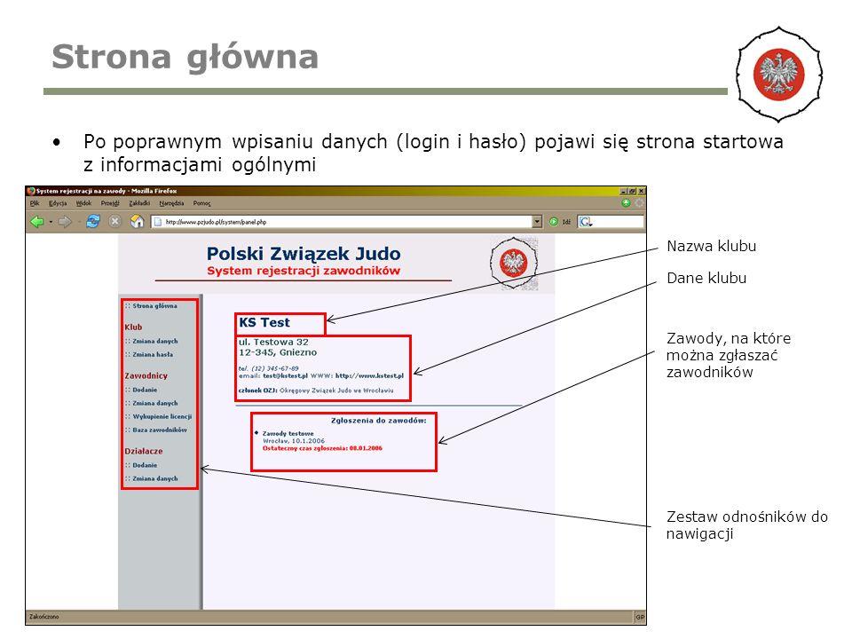 Strona główna Po poprawnym wpisaniu danych (login i hasło) pojawi się strona startowa z informacjami ogólnymi Nazwa klubu Dane klubu Zawody, na które