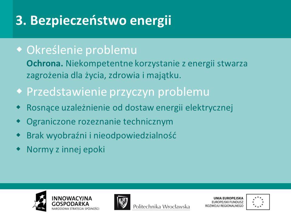 3. Bezpieczeństwo energii Określenie problemu Ochrona.