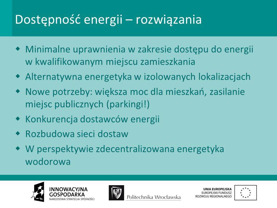 Dostępność energii – rozwiązania Minimalne uprawnienia w zakresie dostępu do energii w kwalifikowanym miejscu zamieszkania Alternatywna energetyka w izolowanych lokalizacjach Nowe potrzeby: większa moc dla mieszkań, zasilanie miejsc publicznych (parkingi!) Konkurencja dostawców energii Rozbudowa sieci dostaw W perspektywie zdecentralizowana energetyka wodorowa