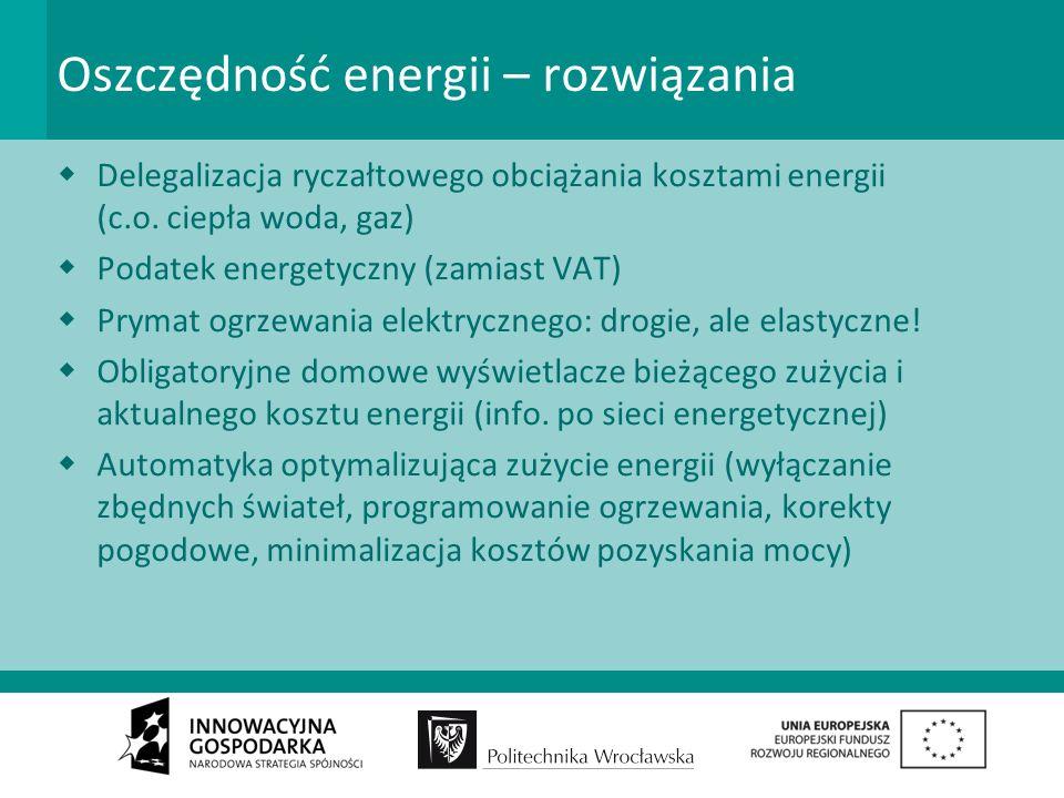 Podsumowanie Omawiane problemy uwidaczniają: Pole do gry o region; wśród graczy: –producenci i dystrybutorzy energii –lokalne samorządy –organizacje konsumenckie, ekologiczne i biznesowe –producenci i montażyści nowej generacji instalacji domowych Duży uśpiony popyt po stronie indywidualnych odbiorców energii Niewyeksplorowane możliwości innowacyjne Balast regulacji z innej epoki
