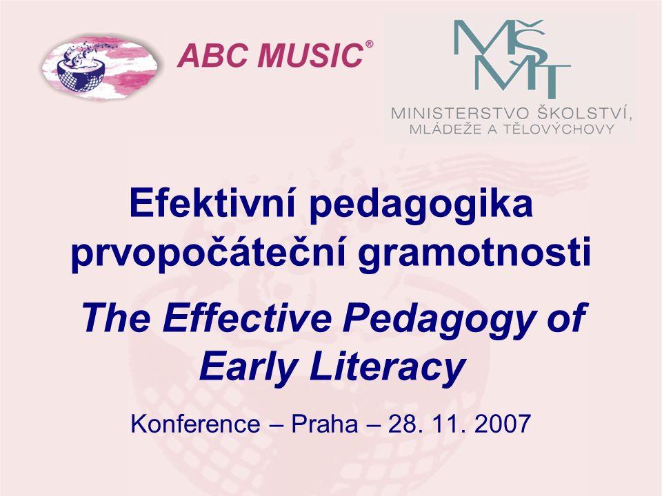 Efektivní pedagogika prvopočáteční gramotnosti The Effective Pedagogy of Early Literacy Konference – Praha – 28. 11. 2007