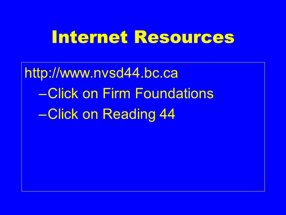 Internet Resources http://www.nvsd44.bc.ca –Click on Firm Foundations –Click on Reading 44