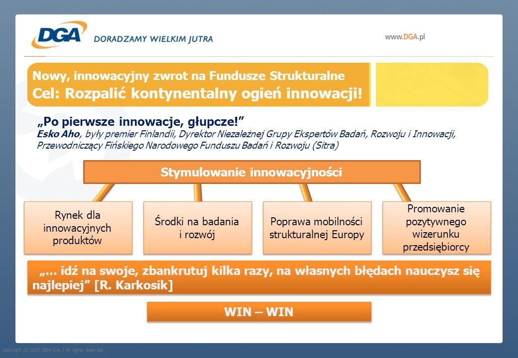 copyright (c) 2007 DGA S.A. | All rights reserved. Nowy, innowacyjny zwrot na Fundusze Strukturalne Cel: Rozpalić kontynentalny ogień innowacji! Po pi