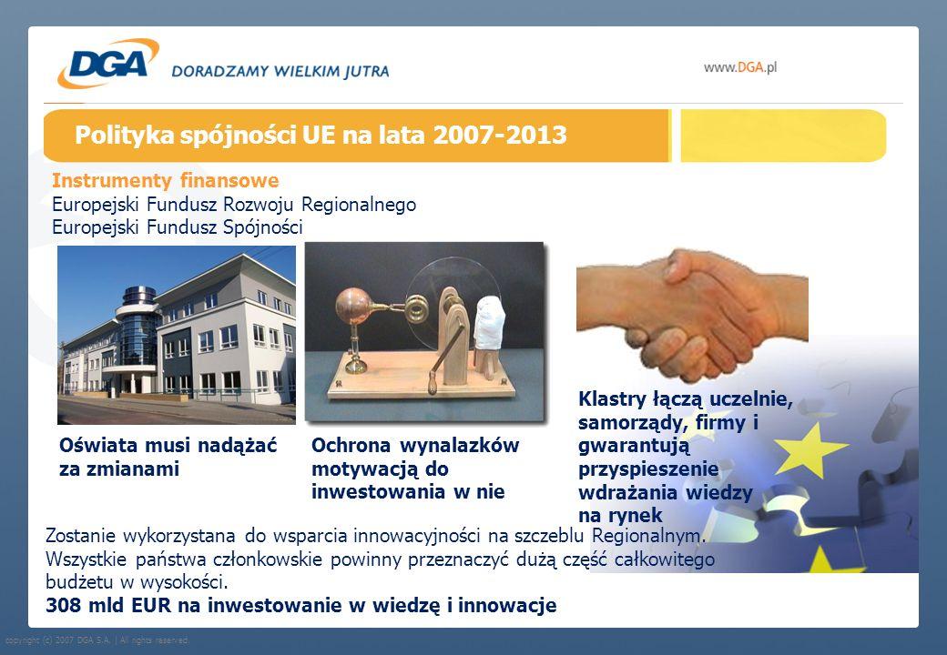copyright (c) 2007 DGA S.A. | All rights reserved. Polityka spójności UE na lata 2007-2013 Instrumenty finansowe Europejski Fundusz Rozwoju Regionalne