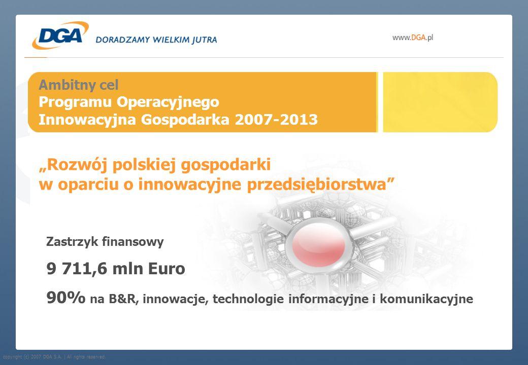 copyright (c) 2007 DGA S.A. | All rights reserved. Ambitny cel Programu Operacyjnego Innowacyjna Gospodarka 2007-2013 Rozwój polskiej gospodarki w opa