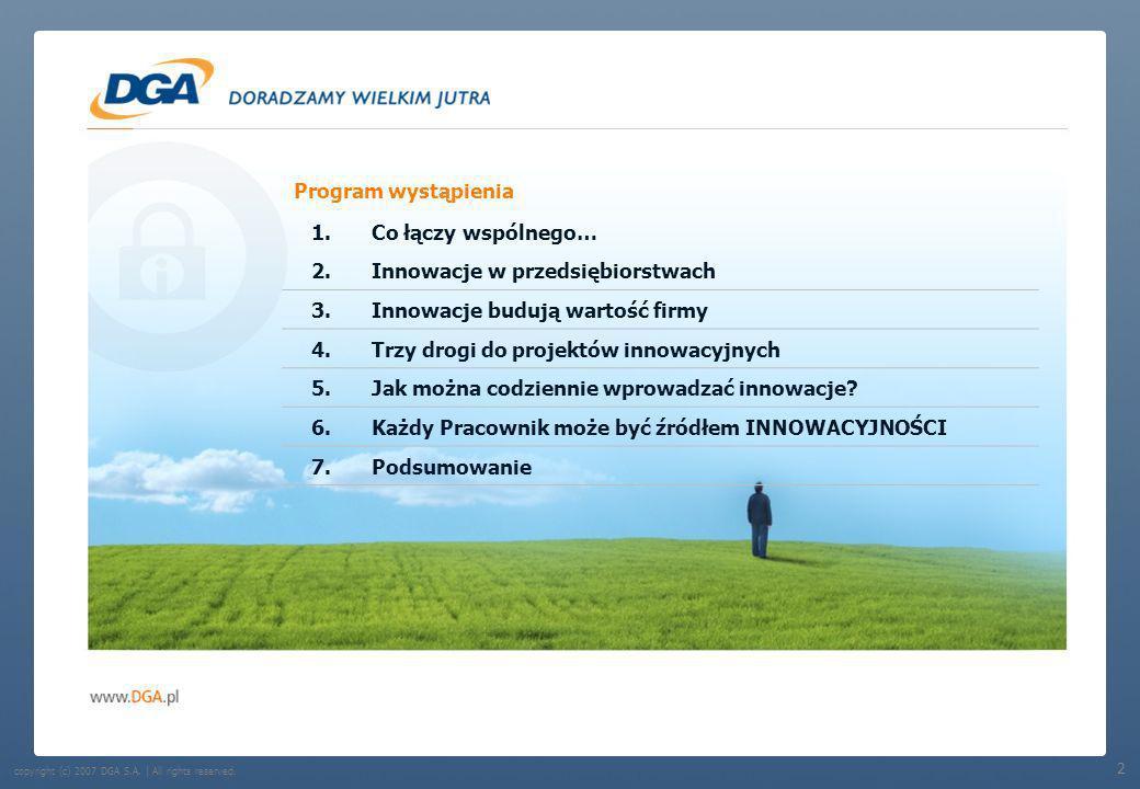 Program wystąpienia 1.Co łączy wspólnego… 2.Innowacje w przedsiębiorstwach 3.Innowacje budują wartość firmy 4.Trzy drogi do projektów innowacyjnych 5.Jak można codziennie wprowadzać innowacje.