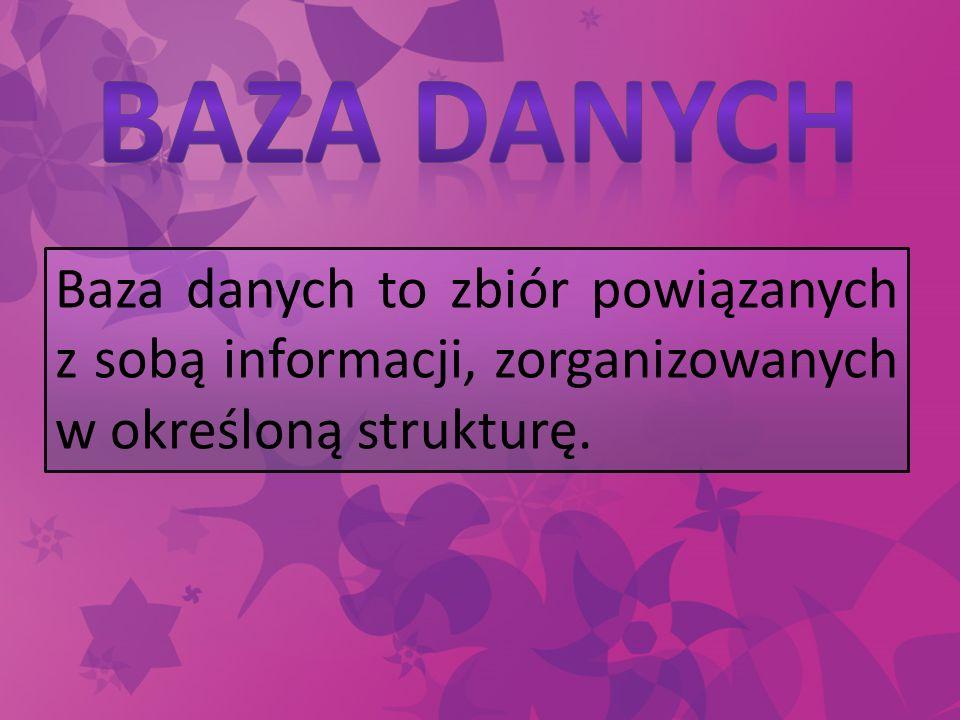 Baza danych to zbiór powiązanych z sobą informacji, zorganizowanych w określoną strukturę.