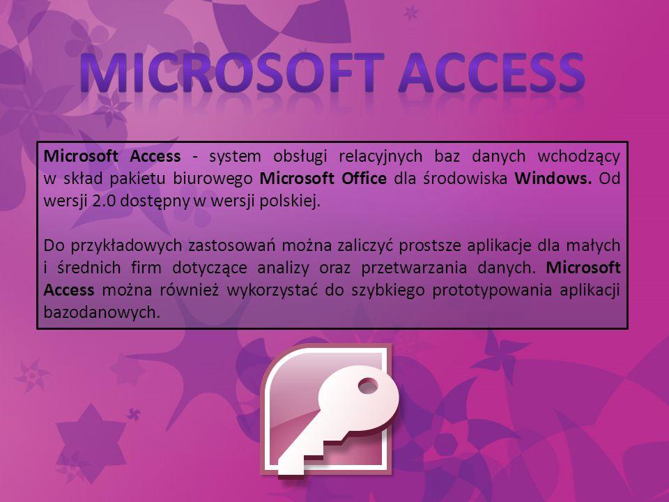 Microsoft Access - system obsługi relacyjnych baz danych wchodzący w skład pakietu biurowego Microsoft Office dla środowiska Windows. Od wersji 2.0 do