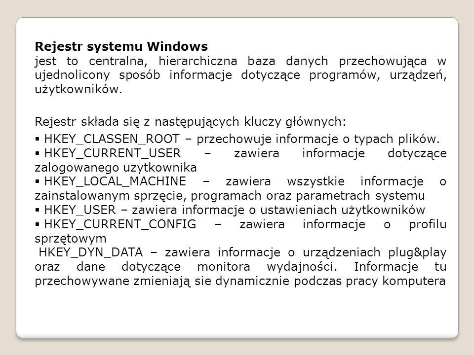 jest to centralna, hierarchiczna baza danych przechowująca w ujednolicony sposób informacje dotyczące programów, urządzeń, użytkowników. Rejestr skład