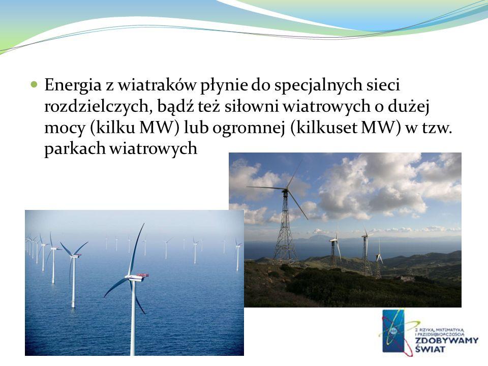 Energia z wiatraków płynie do specjalnych sieci rozdzielczych, bądź też siłowni wiatrowych o dużej mocy (kilku MW) lub ogromnej (kilkuset MW) w tzw. p