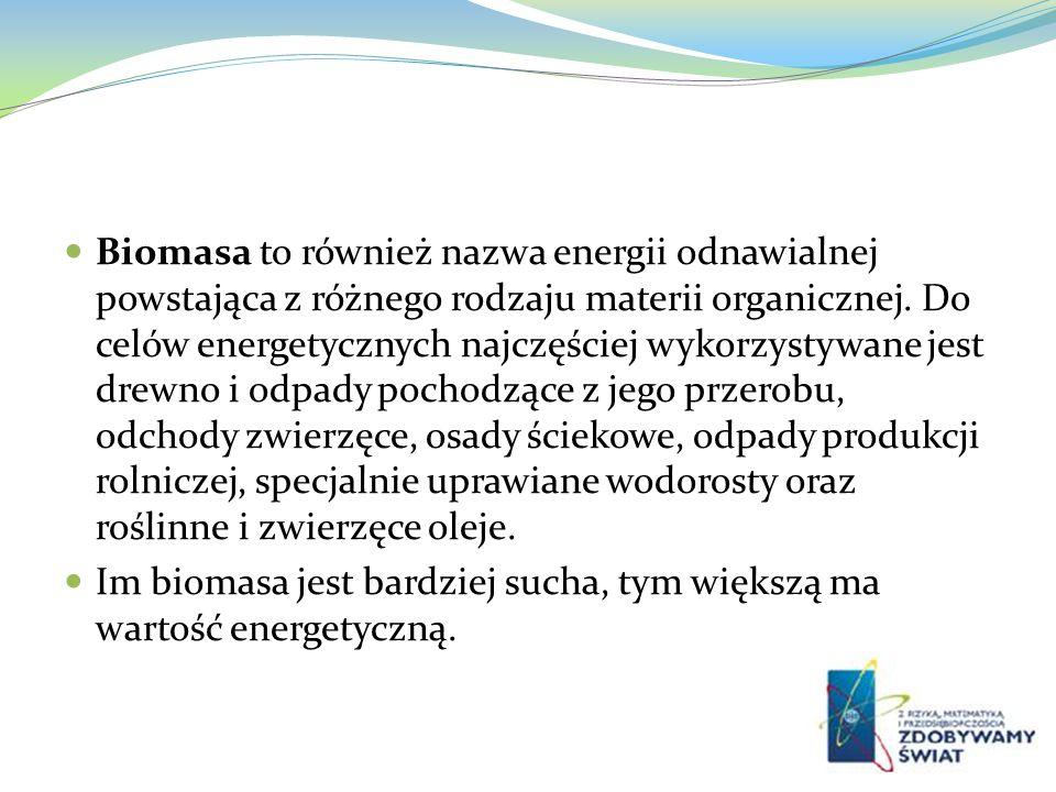 Biomasa to również nazwa energii odnawialnej powstająca z różnego rodzaju materii organicznej. Do celów energetycznych najczęściej wykorzystywane jest