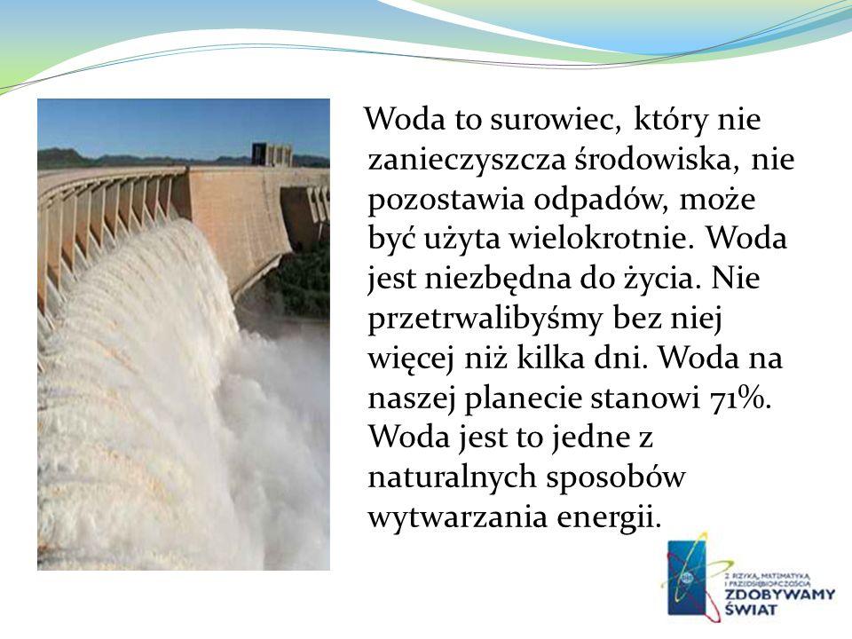 Woda to surowiec, który nie zanieczyszcza środowiska, nie pozostawia odpadów, może być użyta wielokrotnie. Woda jest niezbędna do życia. Nie przetrwal
