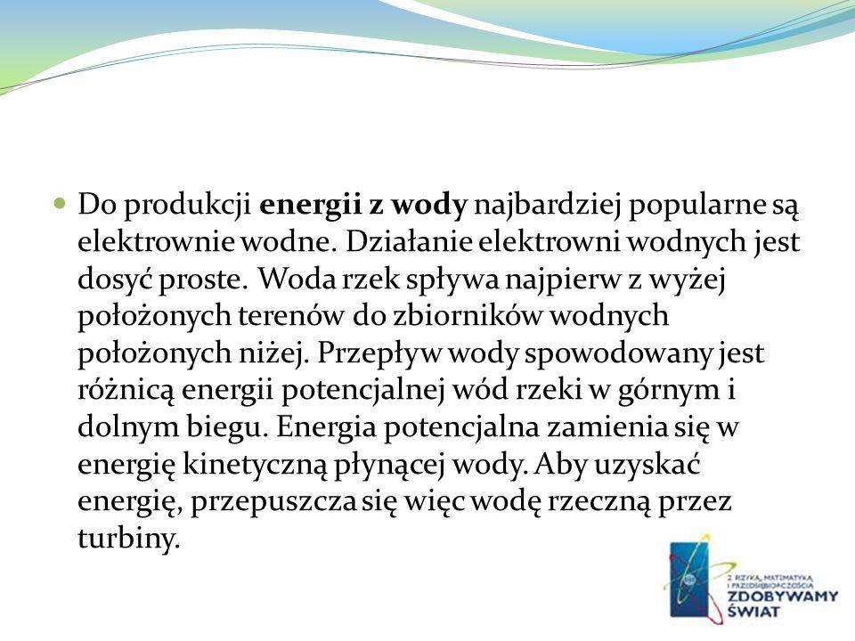 Do produkcji energii z wody najbardziej popularne są elektrownie wodne. Działanie elektrowni wodnych jest dosyć proste. Woda rzek spływa najpierw z wy