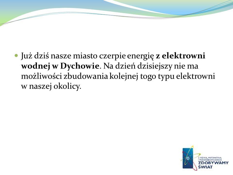 Już dziś nasze miasto czerpie energię z elektrowni wodnej w Dychowie. Na dzień dzisiejszy nie ma możliwości zbudowania kolejnej togo typu elektrowni w