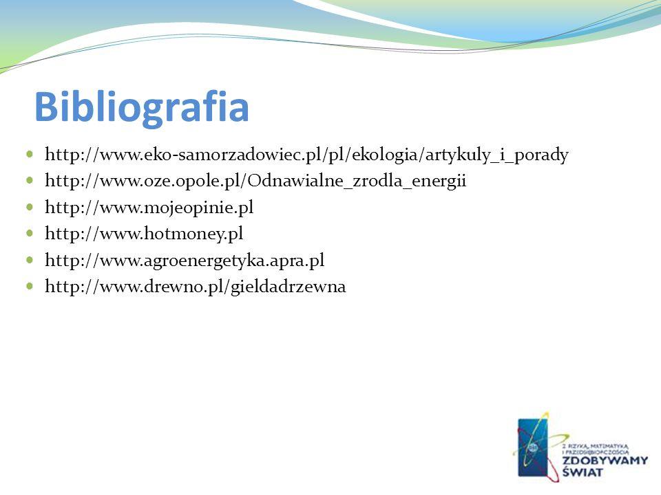 Bibliografia http://www.eko-samorzadowiec.pl/pl/ekologia/artykuly_i_porady http://www.oze.opole.pl/Odnawialne_zrodla_energii http://www.mojeopinie.pl