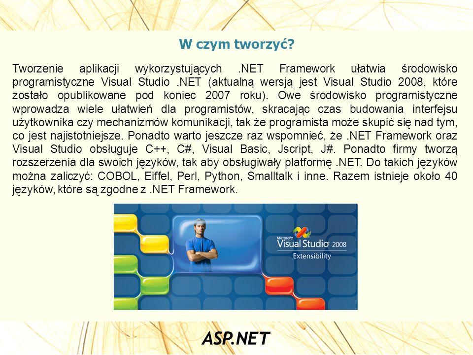 W czym tworzyć? Tworzenie aplikacji wykorzystujących.NET Framework ułatwia środowisko programistyczne Visual Studio.NET (aktualną wersją jest Visual S
