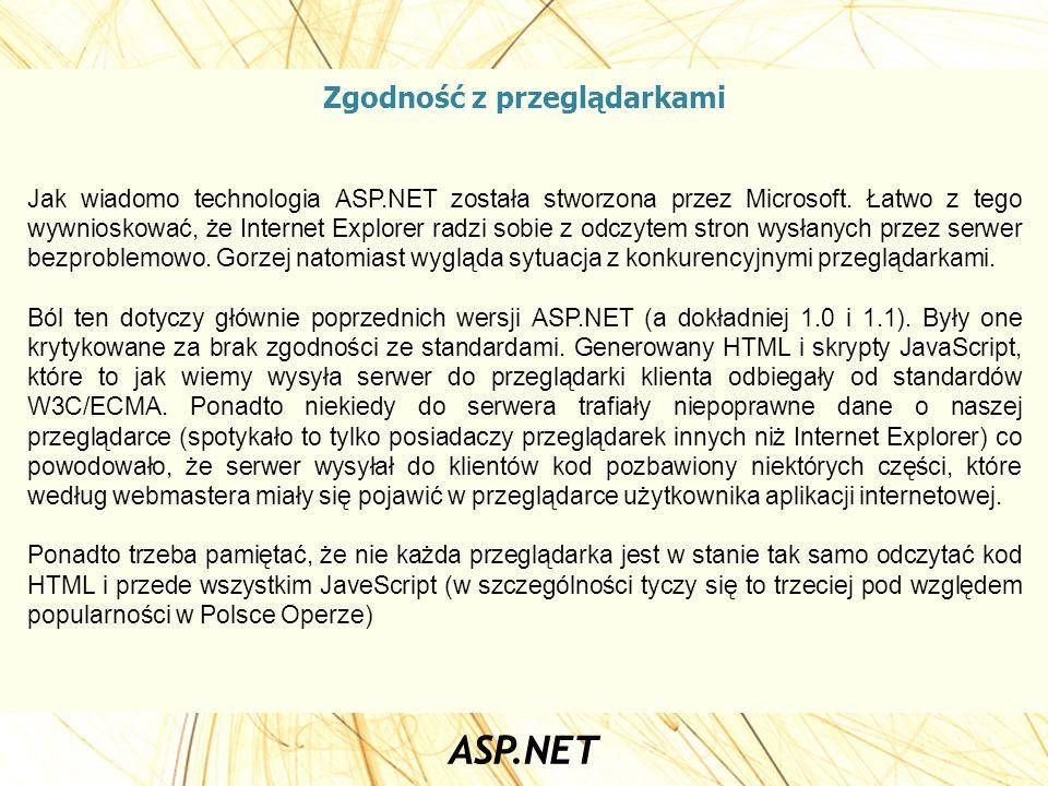 Zgodność z przeglądarkami Jak wiadomo technologia ASP.NET została stworzona przez Microsoft. Łatwo z tego wywnioskować, że Internet Explorer radzi sob