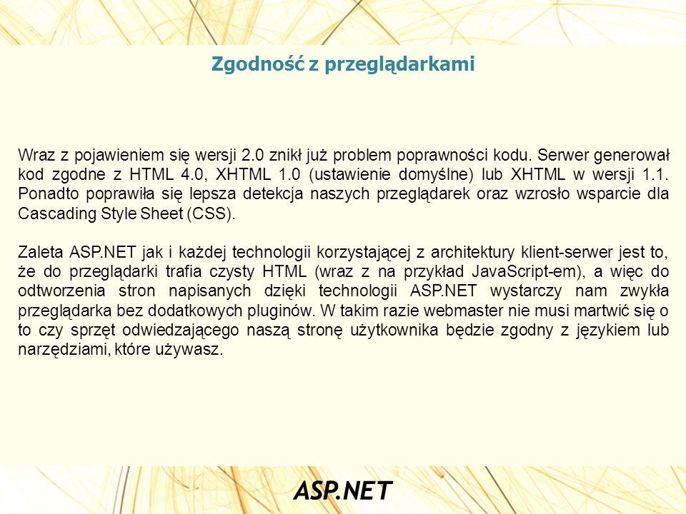 Zgodność z przeglądarkami Wraz z pojawieniem się wersji 2.0 znikł już problem poprawności kodu. Serwer generował kod zgodne z HTML 4.0, XHTML 1.0 (ust