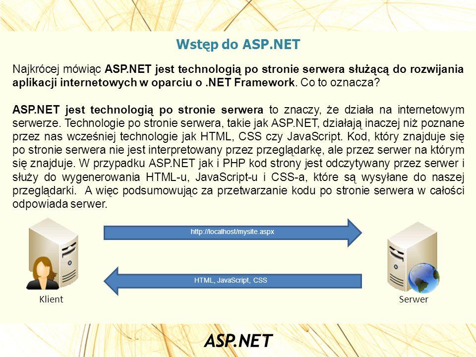 Wstęp do ASP.NET Najkrócej mówiąc ASP.NET jest technologią po stronie serwera służącą do rozwijania aplikacji internetowych w oparciu o.NET Framework.