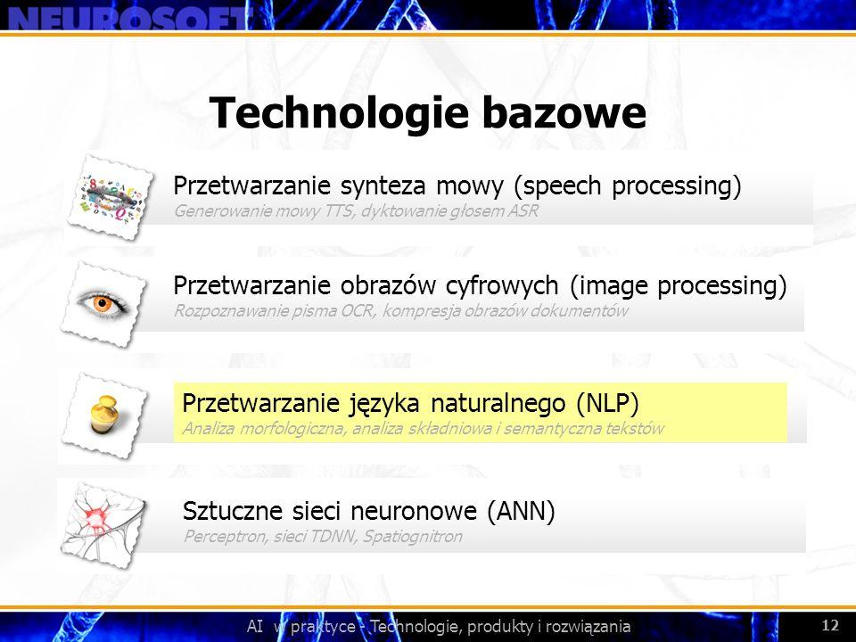 AI w praktyce - Technologie, produkty i rozwiązania 12 Przetwarzanie obrazów cyfrowych (image processing) Rozpoznawanie pisma OCR, kompresja obrazów d
