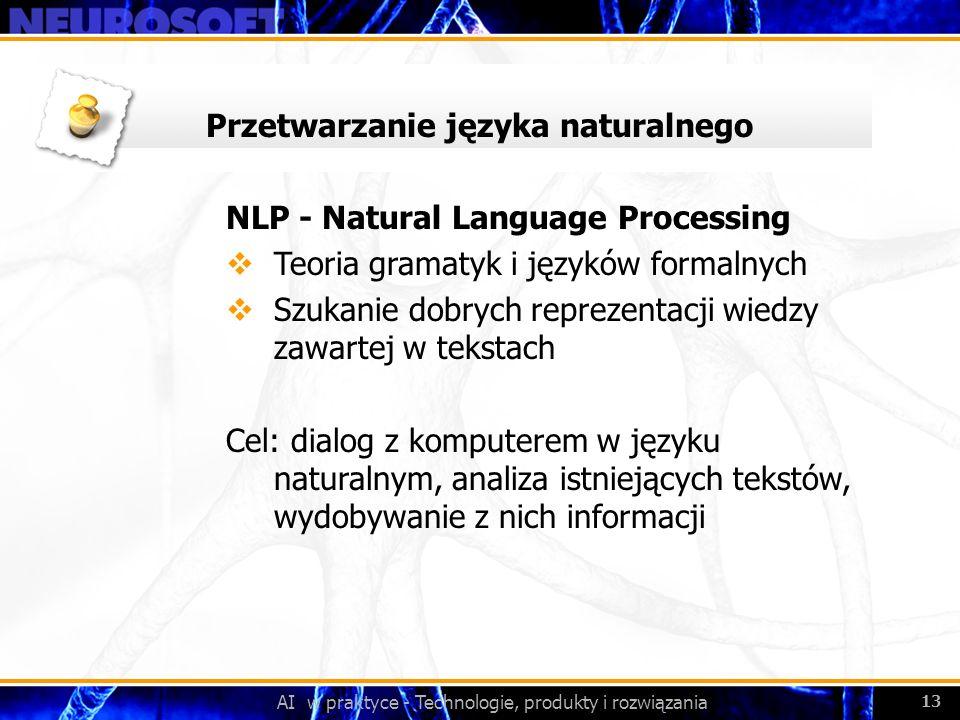 AI w praktyce - Technologie, produkty i rozwiązania 13 Przetwarzanie języka naturalnego NLP - Natural Language Processing Teoria gramatyk i języków fo