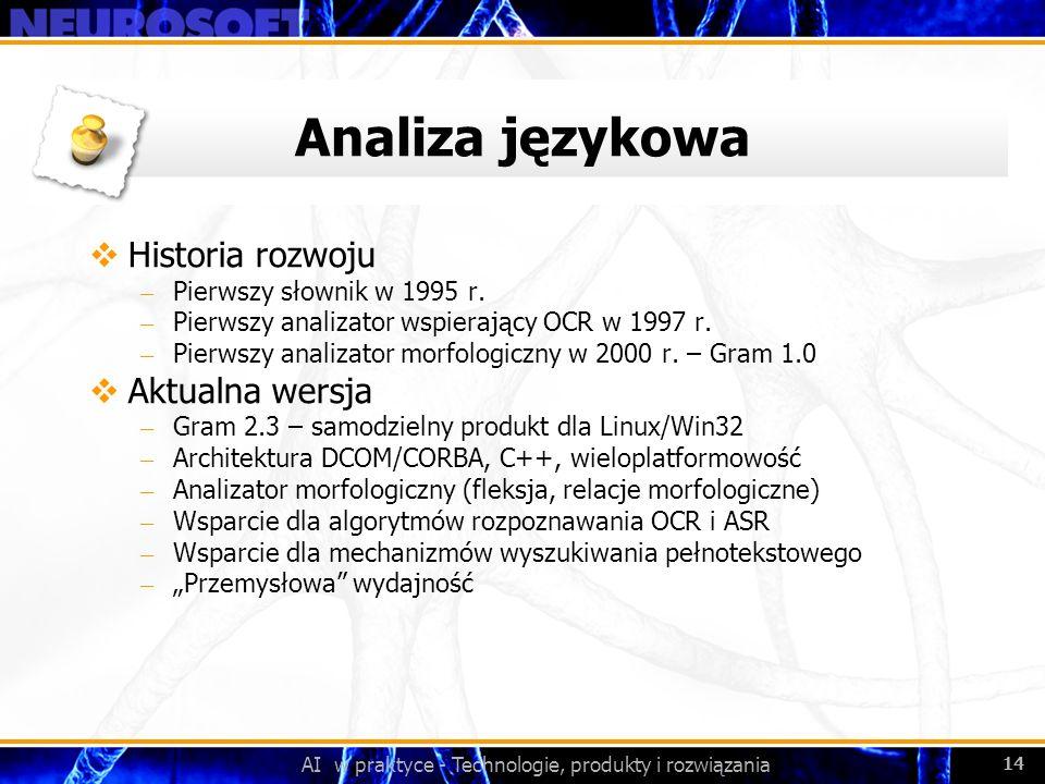 AI w praktyce - Technologie, produkty i rozwiązania 14 Analiza językowa Historia rozwoju – Pierwszy słownik w 1995 r. – Pierwszy analizator wspierając