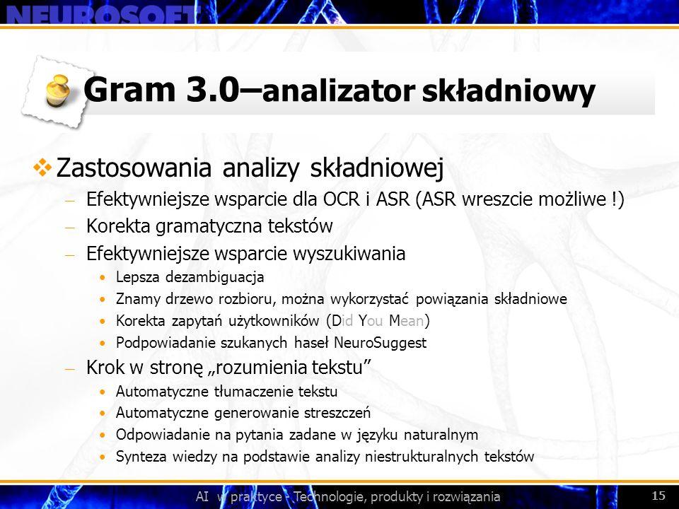 AI w praktyce - Technologie, produkty i rozwiązania 15 Gram 3.0– analizator składniowy Zastosowania analizy składniowej – Efektywniejsze wsparcie dla