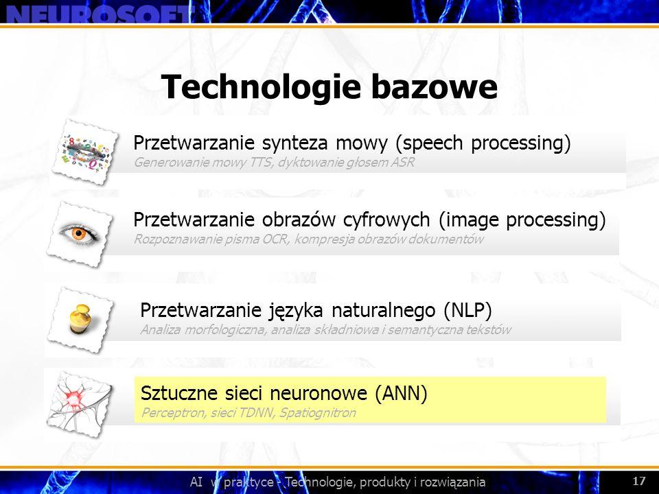 AI w praktyce - Technologie, produkty i rozwiązania 17 Przetwarzanie obrazów cyfrowych (image processing) Rozpoznawanie pisma OCR, kompresja obrazów d