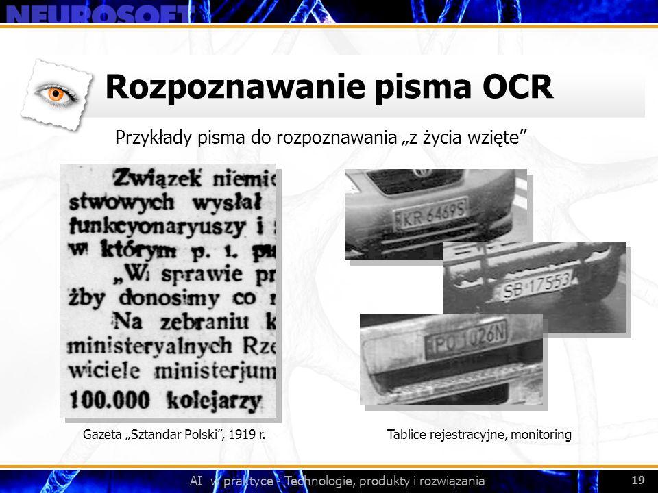 AI w praktyce - Technologie, produkty i rozwiązania 19 Rozpoznawanie pisma OCR Przykłady pisma do rozpoznawania z życia wzięte Gazeta Sztandar Polski,