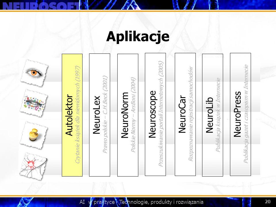 AI w praktyce - Technologie, produkty i rozwiązania 20 Aplikacje NeuroLex Prawo polskie – C.H.Beck (2001) NeuroNorm Polskie Normy – ArsBoni (2004) Aut