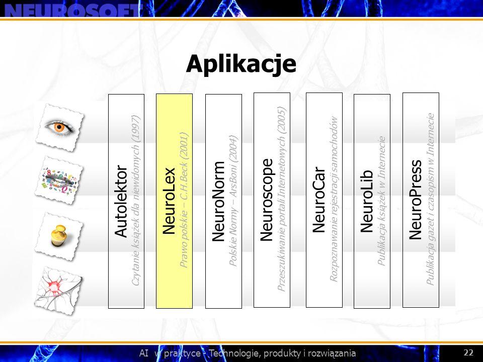 AI w praktyce - Technologie, produkty i rozwiązania 22 Aplikacje NeuroLex Prawo polskie – C.H.Beck (2001) NeuroNorm Polskie Normy – ArsBoni (2004) Aut