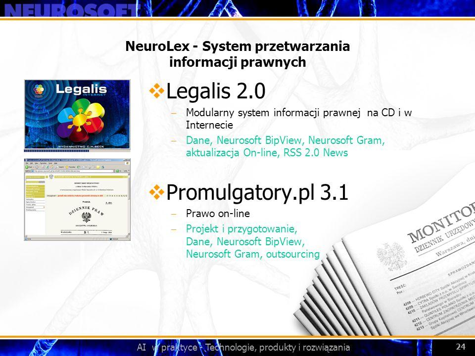 AI w praktyce - Technologie, produkty i rozwiązania 24 NeuroLex - System przetwarzania informacji prawnych Legalis 2.0 – Modularny system informacji p