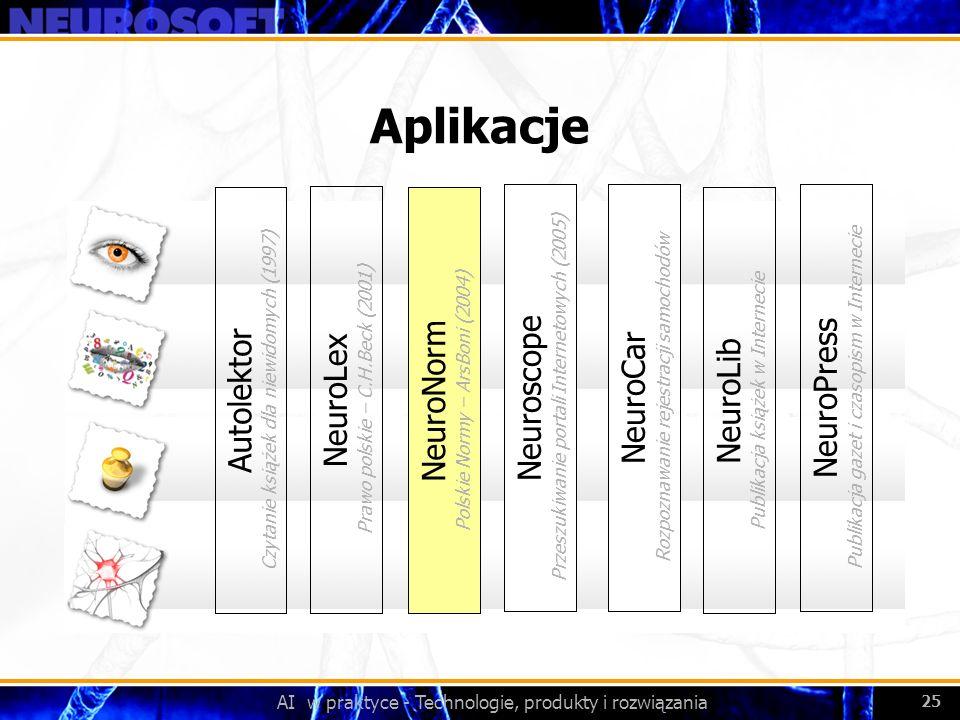 AI w praktyce - Technologie, produkty i rozwiązania 25 Aplikacje NeuroLex Prawo polskie – C.H.Beck (2001) NeuroNorm Polskie Normy – ArsBoni (2004) Aut