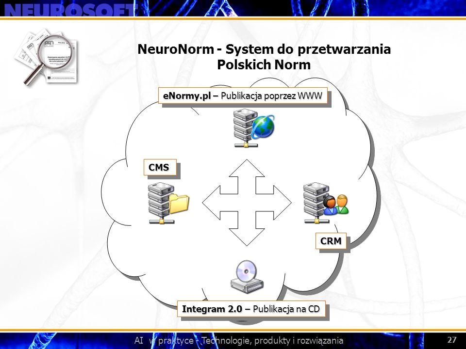 AI w praktyce - Technologie, produkty i rozwiązania 27 NeuroNorm - System do przetwarzania Polskich Norm eNormy.pl – Publikacja poprzez WWW Integram 2